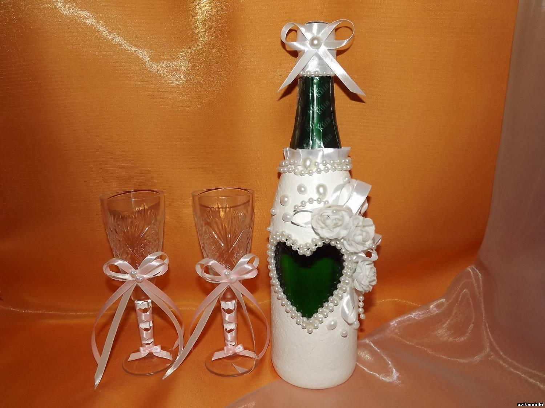 Как своими руками украсить свадебное шампанское 20